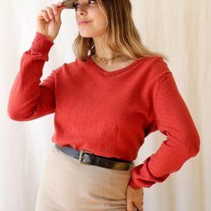 Orange J Crew cotton cashmere v-neck sweater